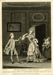 [After John Collet. Grown ladies taught to dance. c1768. © Trustees of the British Museum]