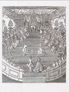 A ball at the court of Louis XIV. Pierre Rameau. Le Maître à danser (Paris, 1725).