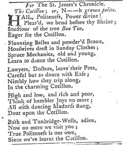 St James's Chronicle or the British Evening Post, 16-18 February 1768, from 'Poets Corner'.