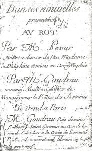 Pecour. Danses nouvelles (Paris, [1715?]), title page.