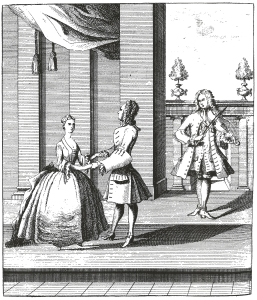 Pierre Rameau, translated by John Essex, The Dancing-Master (London, 1728). Plate facing opening page of chapter 1.