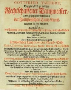 Gottfried Taubert. Rechtschaffener Tantzmeister (1717). Title Page.
