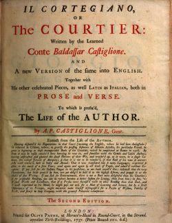 Cortegiano 1737 title page