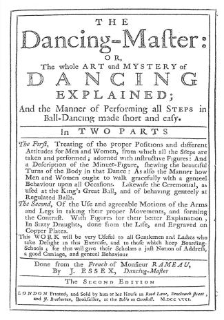 Essex Dancing Master 1731 Title Page